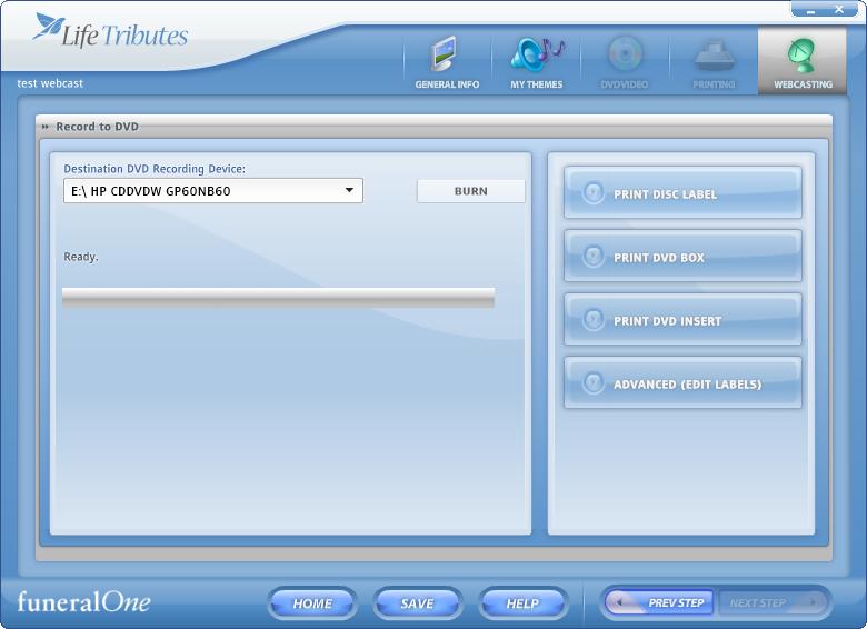 webcasting - burn dvd screen