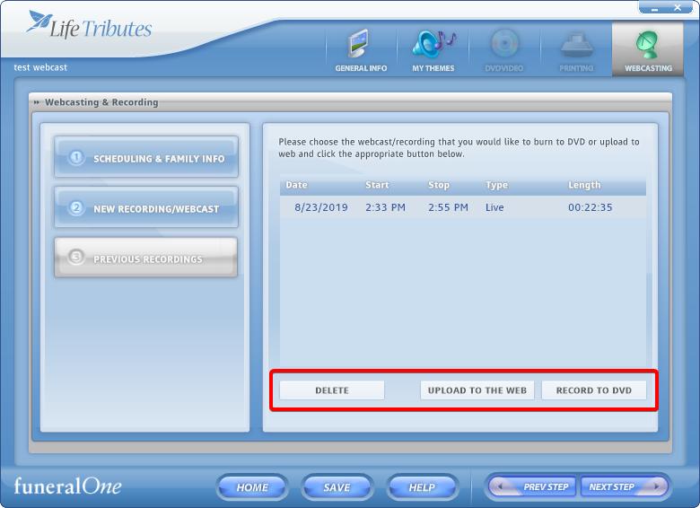 webcasting - previous recording screen